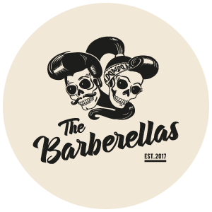 the barberellas hairstyling barbershop makeup logo